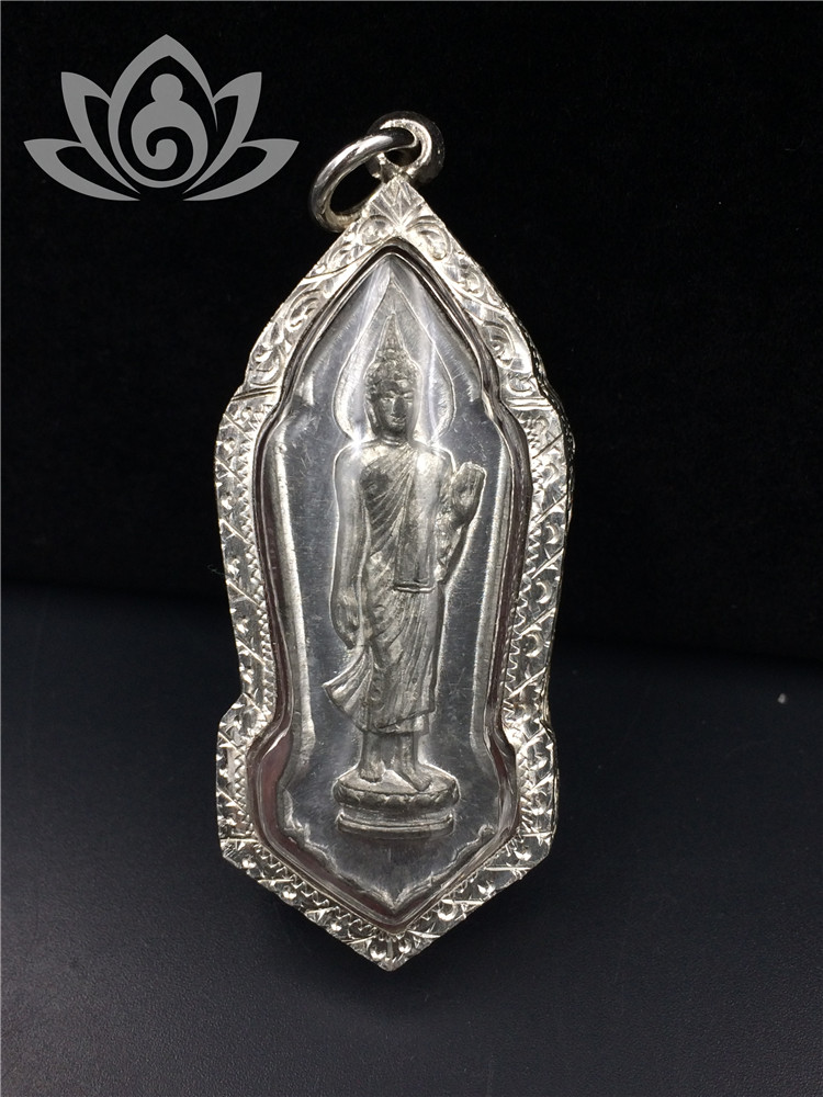 泰国佛牌 行走佛 佛历2500年 保事业挡险 锡版 56年老牌 纯银壳